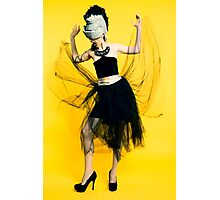 Clubbing woman yellow background Photographic Print