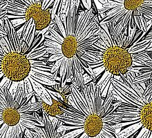 Abstract black and white daisies floral pattern by Maria Fernandes