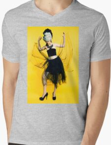 Clubbing woman yellow background Mens V-Neck T-Shirt
