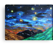 Mountain Starry Night Canvas Print
