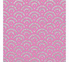 Pink silver faux glitter retro scallop pattern Photographic Print