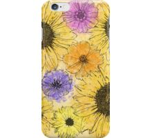 Colorful pink purple watercolor floral drawing  iPhone Case/Skin
