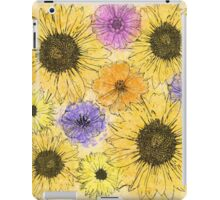 Colorful pink purple watercolor floral drawing  iPad Case/Skin