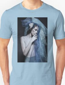 Atmospheric image of a veiled woman on black background  T-Shirt