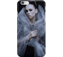 Atmospheric image of a veiled woman on black background  iPhone Case/Skin