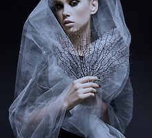 Atmospheric image of a veiled woman on black background  by PhotoStock-Isra