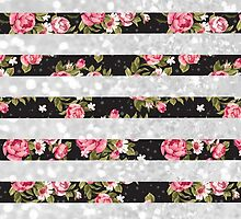 Pink black floral white faux glitter stripes by Maria Fernandes