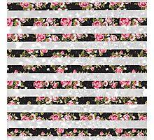 Pink black floral white faux glitter stripes Photographic Print