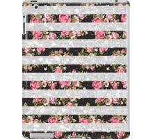 Pink black floral white faux glitter stripes iPad Case/Skin