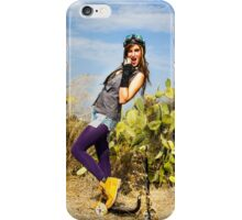 Trendy hip woman with purple tights outdoors  iPhone Case/Skin