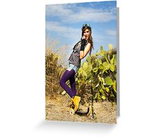 Trendy hip woman with purple tights outdoors  Greeting Card