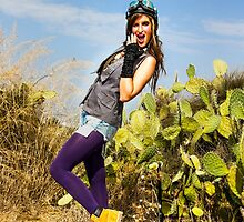 Trendy hip woman with purple tights outdoors  by PhotoStock-Isra