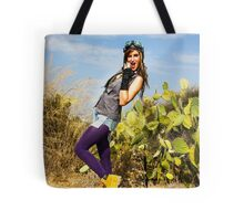 Trendy hip woman with purple tights outdoors  Tote Bag