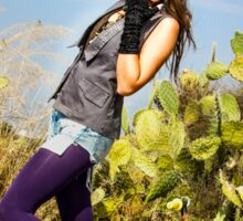 Trendy hip woman with purple tights outdoors  Sticker