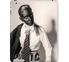 Caucasian woman with black mask in black and white  iPad Case/Skin