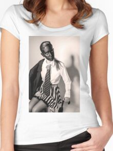 Caucasian woman with black mask in black and white  Women's Fitted Scoop T-Shirt