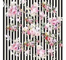 Vintage pink floral black yellow stripes pattern Photographic Print