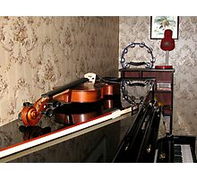 Violin on top of Piano Photographic Print