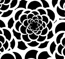 Abstract black and white modern floral pattern by Maria Fernandes