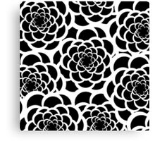Abstract black and white modern floral pattern Canvas Print