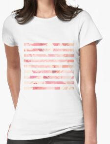 Modern vintage pink coral watercolor stripes Womens Fitted T-Shirt
