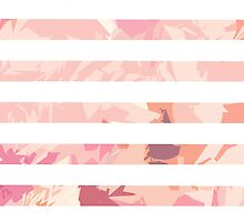Modern vintage pink coral watercolor stripes by Maria Fernandes
