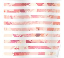 Modern vintage pink coral watercolor stripes Poster