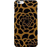 Elegant black gold faux glitter large floral iPhone Case/Skin