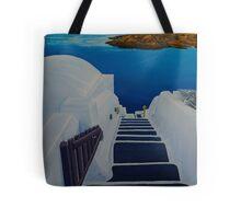 Upstairs Downstairs to Santorini Caldera Tote Bag