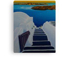 Upstairs Downstairs to Santorini Caldera Canvas Print