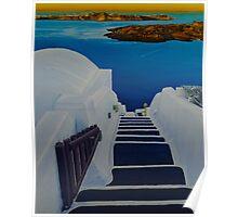 Upstairs Downstairs to Santorini Caldera Poster
