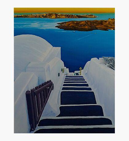Upstairs Downstairs to Santorini Caldera Photographic Print