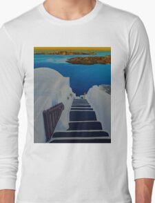 Upstairs Downstairs to Santorini Caldera Long Sleeve T-Shirt