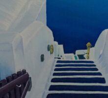 Upstairs Downstairs to Santorini Caldera Sticker