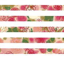 Vintage pink watercolor floral stripes pattern by Maria Fernandes