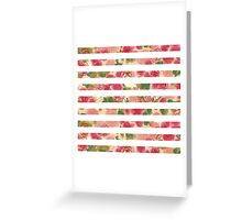 Vintage pink watercolor floral stripes pattern Greeting Card