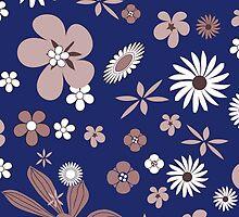 Vintage navy blue white brown floral pattern by Maria Fernandes