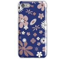 Vintage navy blue white brown floral pattern iPhone Case/Skin