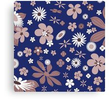 Vintage navy blue white brown floral pattern Canvas Print