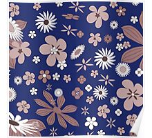 Vintage navy blue white brown floral pattern Poster