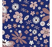 Vintage navy blue white brown floral pattern Photographic Print