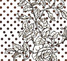 Vintage black white rose brown polka dots pattern  by Maria Fernandes