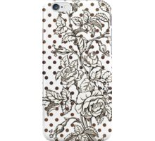 Vintage black white rose brown polka dots pattern  iPhone Case/Skin