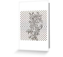 Vintage black white rose brown polka dots pattern  Greeting Card