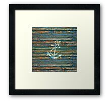 Cool Anchor Green Blue Rustic Framed Print