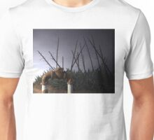 Water valve in front of a giant succulent, the telegraph cactus or century plant. Unisex T-Shirt