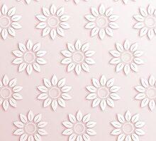 Elegant pink white cute flowers pattern  by Maria Fernandes