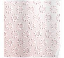 Elegant pink white cute flowers pattern  Poster