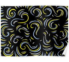 Vaine Abstract Expression Yellow Blue Poster