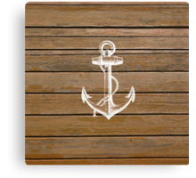 White anchor vintage rustic brown wood  Canvas Print